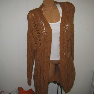 AMERICAN EAGLE GOLD MUSTARD WEAVE CARDIGAN SWEATER